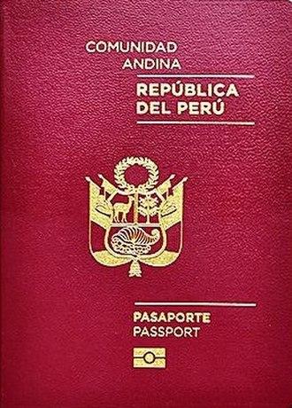 Peruvian passport - The front cover of the Peruvian biometric passport.