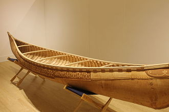 Canoe - Birchbark canoe at Abbe Museum in Bar Harbor, Maine