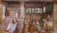 Birth of St Mary in Santa Maria Novella in Firenze by Domenico Ghirlandaio