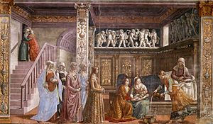 1490s in art - Image: Birth of St Mary in Santa Maria Novella in Firenze by Domenico Ghirlandaio
