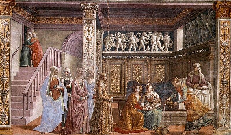 http://upload.wikimedia.org/wikipedia/commons/thumb/9/91/Birth_of_St_Mary_in_Santa_Maria_Novella_in_Firenze_by_Domenico_Ghirlandaio.jpg/800px-Birth_of_St_Mary_in_Santa_Maria_Novella_in_Firenze_by_Domenico_Ghirlandaio.jpg
