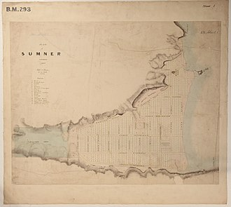 Sumner, New Zealand - Image: Black Map Sumner Township 1849, 01