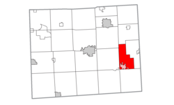 Location within Lenawee County (red) and the administered village of Blissfield (pink)