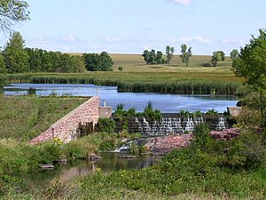 Blue Mounds State Park - Upper Dam and Upper Mound Lake, constructed 1938