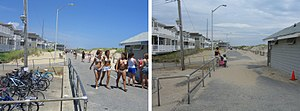 Manasquan, New Jersey - The Manasquan Boardwalk is largely quiet after Labor Day, as seen in this comparative shot facing north, taken in mid-July (left) and late September (right).