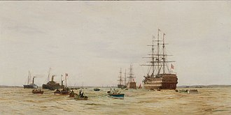 Thames Nautical Training College - First boat race on the Mersey between cadets of HMS Conway and HMS Worcester, 11 June 1891; by Charles W Wyllie (1859-1923)