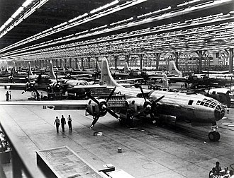 B-29 Superfortress strategic bombers on the Boeing assembly line in Wichita, Kansas, 1944 Boeing-Whichata B-29 Assembly Line - 1944.jpg
