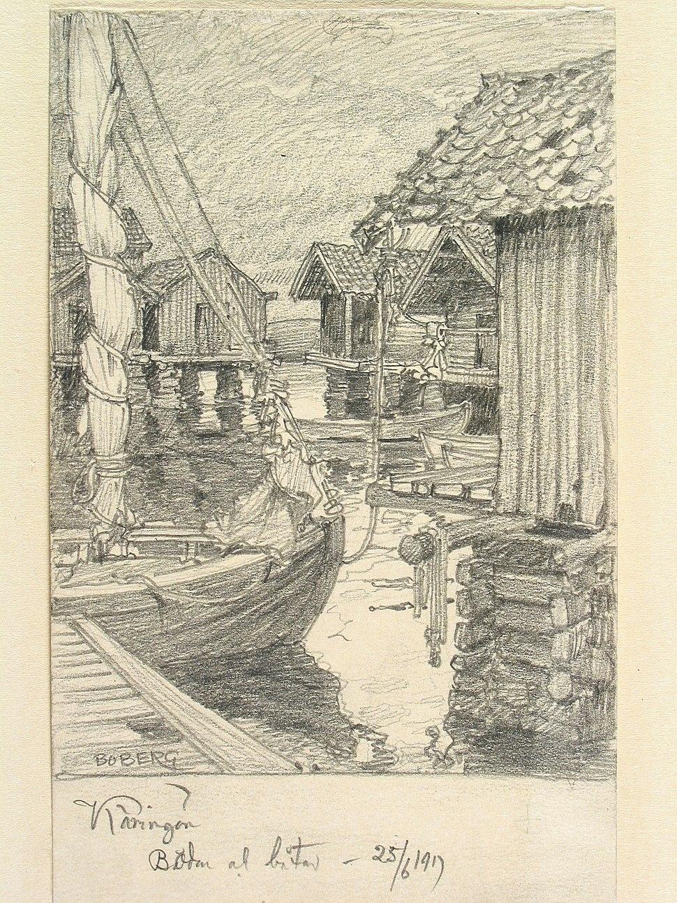 Bohuslän, Käringön. Bodar och båtar. Teckning av Ferdinand Boberg - Nordiska museet - NMA.0087997