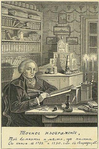 Гравюра Л.А.Серякова с иллюстрации из книги А.Т.Болотова. Подпись под картиной: «Точное изображение, той комнаты и места, где писана сия книга в 1789 и 1790 году.»