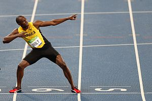 Athletics at the 2016 Summer Olympics – Men's 200 metres - Bolt doing the lightning bolt