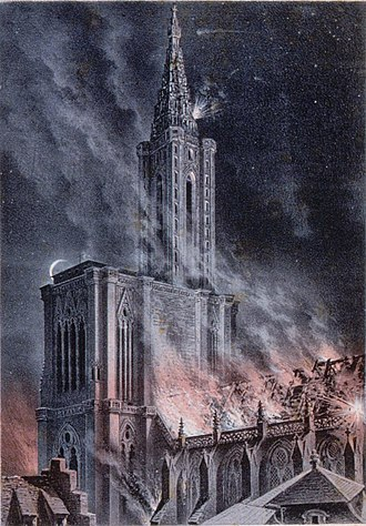 Siege of Strasbourg - The bombardment of Strasbourg cathedral on the night of 24 August 1870.