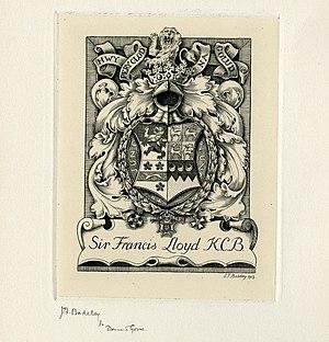 Francis Lloyd (British Army officer) - Lloyd's bookplate, by Henry Badeley