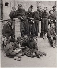 Boys at recess, Albergo dei Poveri reformatory, Naples (1948).jpg