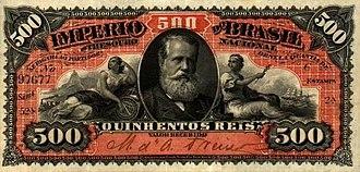 Brazilian real (old) - Image: Brazil PA243a 500Reis (1880) donatedcm f