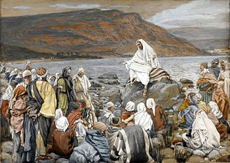 """Quest for the historical Jesus - """"Jesus Teaches the People by the Sea"""", a painting by James Tissot, c. 1890"""