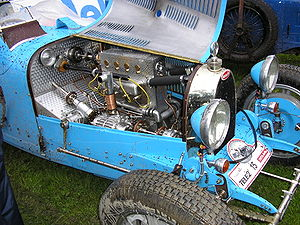 The engine bay of a 1929 Bugatti T 37 A.