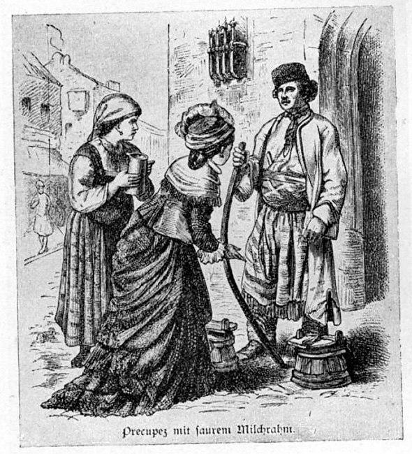 Bulgarian merchant selling milk, 1880