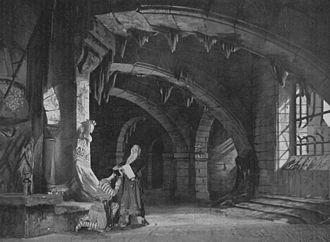 Eugène Carpezat - Carpezat's set for Hugo's Les Burgraves (1902), Act III. Photograph by Henri Mairet in Le théâtre.