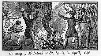 Burning of Francis McIntosh - Drawing of the burning of Francis McIntosh, from Illustrations of the American Anti-slavery Almanac for 1840