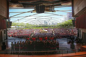 Chicago Children's Choir - More than 4,000 singers perform at Jay Pritzker Pavilion in Millennium Park in downtown Chicago at the 2015 Paint the Town Red concert.