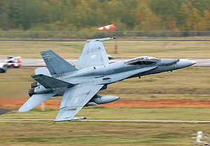 CFB Cold Lake - A CF-18 Hornet takes off from CFB Cold Lake during the second Tiger Meet of the Americas, 2003
