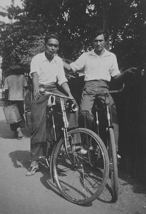 Indos in colonial history - Indo European boys on bicycles in Dutch East Indies, between 1920-1940.