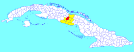 Cabaiguán municipality (red) within  Sancti Spíritus Province (yellow) and Cuba