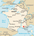 Cadarache (red dot) CIA World Factbook map.png