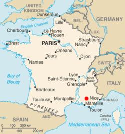 Location of Cadarache, France, EU