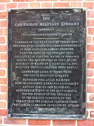 Cambridge Military Library - Cambridge Military Library Plaque Halifax Nova Scotia