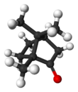Baw an stick model o camphor ((1R,4R)-1-methyl,heptan)