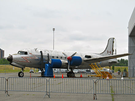 RCAF C-54GM example (17515 ) at the Canada Aviation and Space Museum Canadair North Star CASM 2012 1.jpg