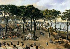 O exército brasileiro no campo de Guiuzú em 20 de setembro de 1866, por Cándido López.