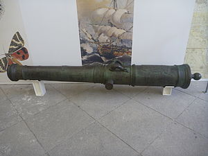 8-pounder long gun - A 8-pounder long gun made in Sevilla in 1754