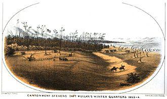 John Mullan (road builder) - Cantonment Stevens in 1853-1854, as depicted by Gustav Sohon.