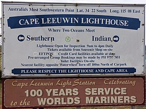 Cape Leeuwin Lighthouse - Image: Cape Leeuwin sign
