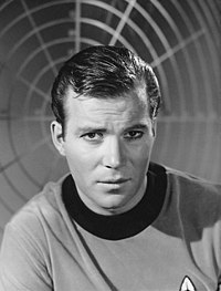 A photograph of William Shatner as Captain James T. Kirk in 1966