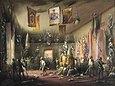 Aufständische dringen während des Aufstands in Mailand in die Waffenkammer des Adligen Ubaldo ein (Gemälde von Karlo Bassoli. 1848)