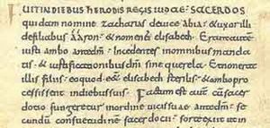 Carolingian minuscule - Example from 10th-century manuscript, Vulgate Luke 1:5-8.