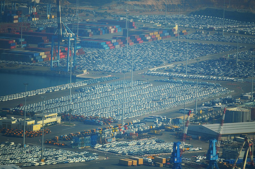 Cars in Ashdod Port, Aerial View