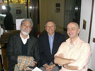 Fabio Casadei Turroni - writer Roberto Pazzi (left), painter Rino Casadei Turroni (center), Fabio Casadei Turroni (right) in Bologna, 2006