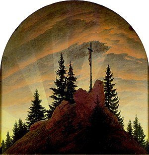 Caspar David Friedrich - The Tetschen Altar, or The Cross in the Mountains (1807). 115 × 110.5 cm. Galerie Neue Meister, Dresden. Friedrich's first major work, the piece breaks with the traditional representation of crucifixion in altarpieces by depicting the scene as a landscape.