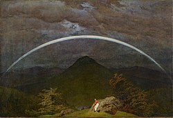 Caspar David Friedrich: Arco iris en un paisaje de montañas