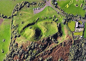 Motte-and-bailey castle - Castle Pulverbatch in Shropshire in England was built in the 11th or 12th century and abandoned by 1202. This Digital elevation model shows the motte just left of centre, with the bailey to the right (north-east) of it.