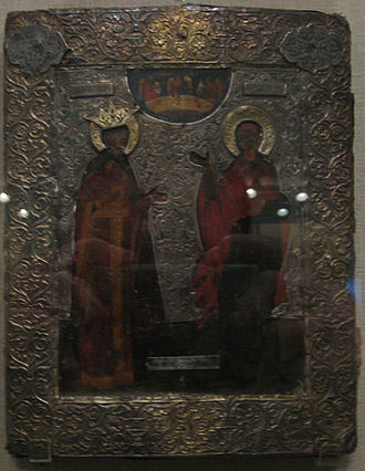 Russian icons - Darkened icon of Ss. Catherine and Paraskeva (16th century, Pskov).