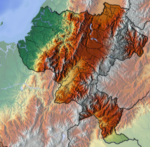 Cauca Department - Image: Cauca Topographic 2