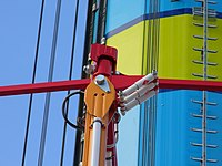 A close-up shot of the hydraulic dampers on Cedar Point's version of the ride.