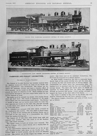 Central of Georgia Railway - Central of Georgia Baldwin locomotives, 1907