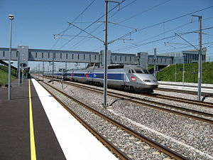 Gare de Champagne-Ardenne TGV - TGV traveling through the station without stopping.