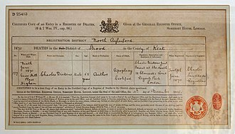 A 1905 transcribed copy of the death certificate of Charles Dickens. Charles Dickens Death Certificate.jpg